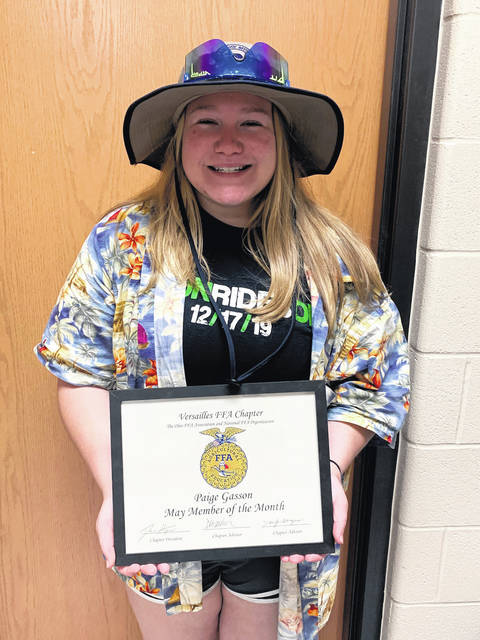 Versailles FFA recognized Paige Gasson as a member of the month.