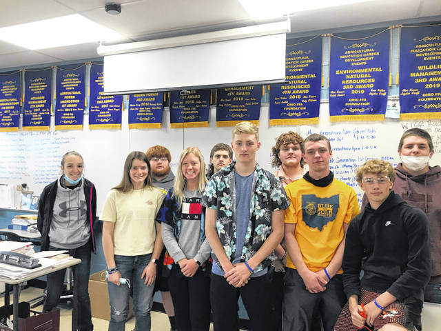 The Versailles FFA mechanical principles class participated in the State Outdoor Power Equipment CDE contest on April 20. Pictured are Versailles FFA members that participated the contest. Shown back row, left to right, are Alexis Jay, Sam Bensman, Xavier Grillot, Elliot George, Austin Nerderman. (front row; shown front row, left to right, are Renea Schmitmeyer, Morgan Schlater, Josh Luthman, Jacob Garrison, and Payton Platfoot.