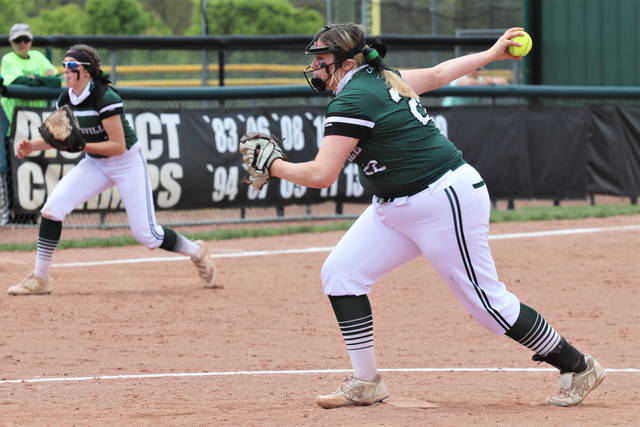 Kylie Hamm pitches a perfect inning to close out the Lady Wave's run rule win over Covington.