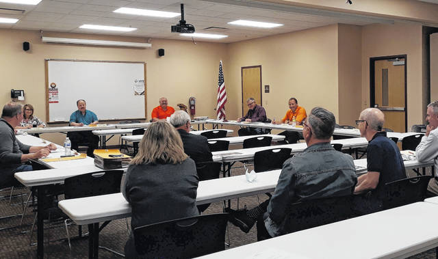 Members of the Versailles Alumni Association FareFest 2021 planning committee present information to the Versailles Village Council Weds. evening. The 12th annual FareFest will take place in August.
