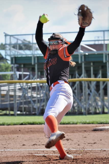 Peyton Garbig throws a 1-hitter over Bethel to earn her 16th win of the season for Arcanum.
