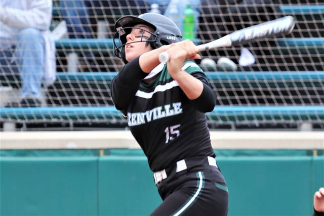 Greenville's Susie Blocher drills an inside the park home run in the Lady Wave's win over Sidney.