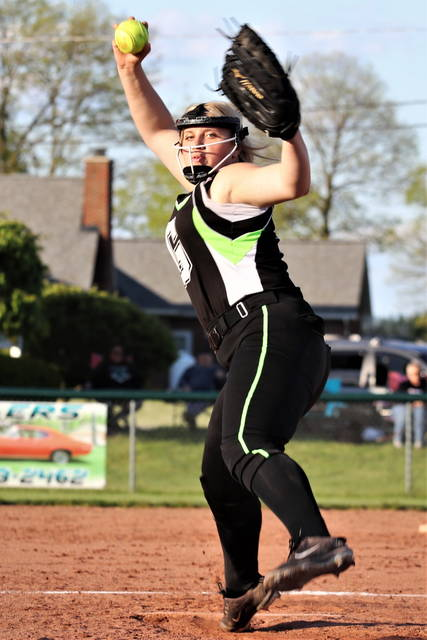 Zoey Burns throws one of her 16 strikouts in Greenville's middle school Championship win over Tippecanoe.
