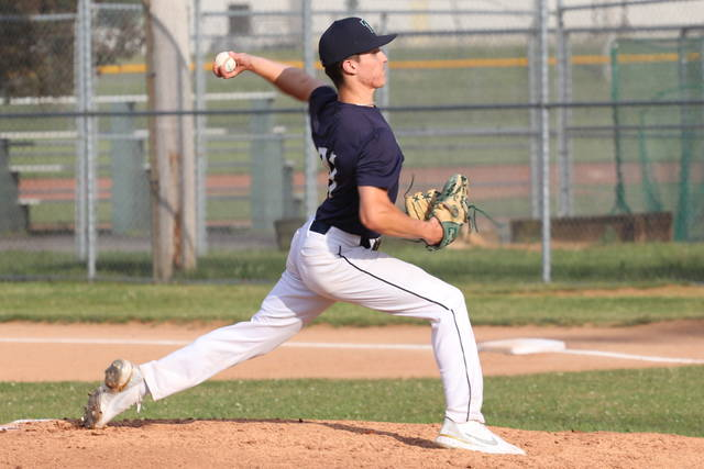 Alex Kolb works on the mound for Post 140 in the team's win over Springfield.