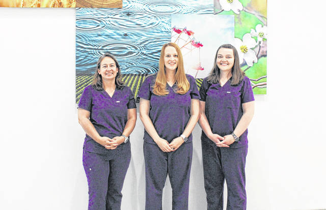 All of the of the general surgeons at Wayne HealthCare are women. Pictured (left to right) are Wayne HealthCare general surgeons Dr. Kara Schultz MD, FACS, Dr. Alisha Reiss MD, FACS and Dr. Stephanie Buchanan MD, FACS.