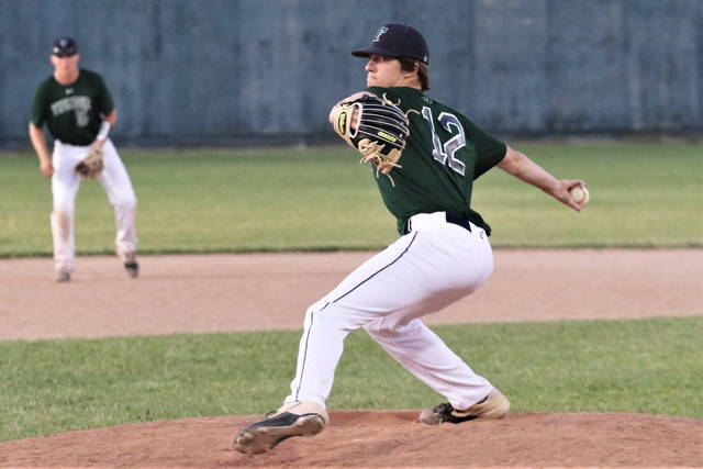 Ben Ruhenkamp pitches middle relief for Post 140 in the Legion's win over Troy.