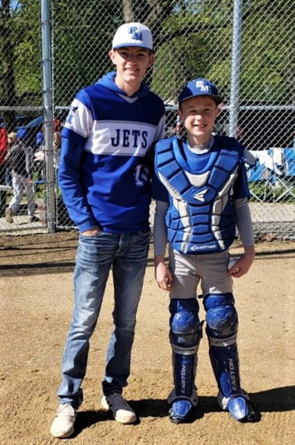 FM All-CCC player Brendan Hosler and Evan Addis at the FM Jr. opening day baseball and softball celebration.