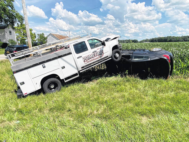 Two people were treated for non-life-threatening injuries following a collision of vehicles Tuesday afternoon in Butler Township.