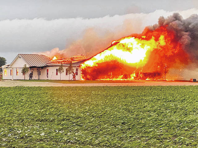 Firefighters from multiple departments battled a blaze at the Shiloh Meeting House of the Old German Baptist Brethren Church Saturday morning. The structure and its contents were deemed a total loss.
