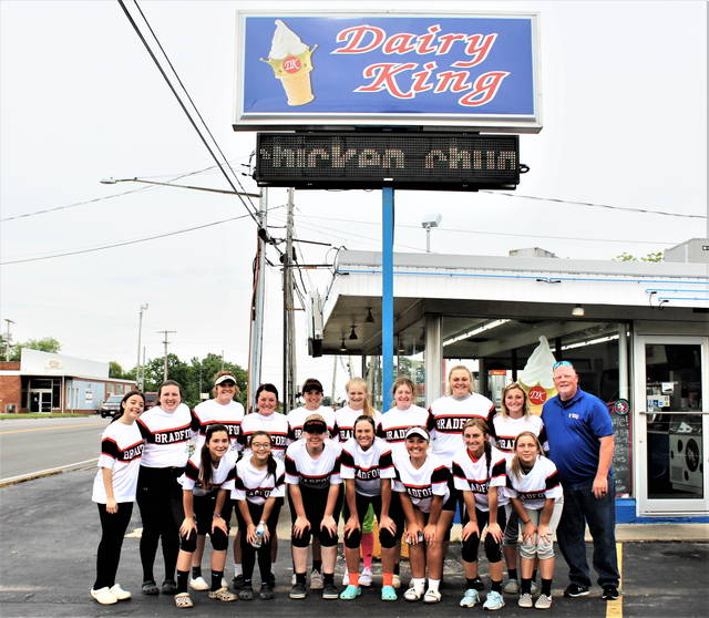 The Bradford Lady Railroaders state bound softball team and coaching staff enjoys a free meal at Greenville's Dairy King operated my OHSAA umpire, David McCartney (R).