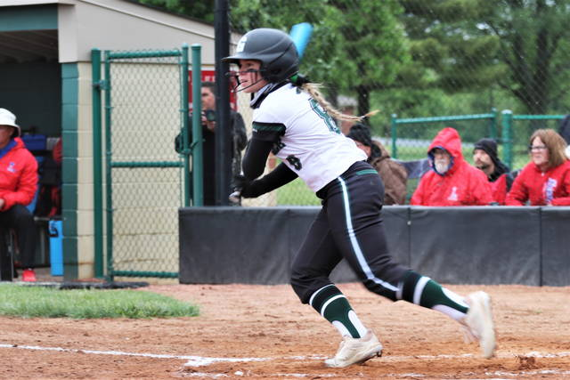 Skylar Fletcher drives a hit for the Lady Wave in regional play.