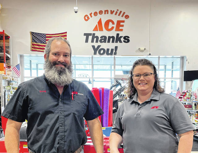 """Doug and Sherry Hesson, owners of Greenville ACE Hardware, located at 1241 E. Russ Road, were recognized as the 2021 Darke GOP """"Business of the Year."""" Greenville ACE Hardward and A & B Coffee in Greenville were honored at the annual GOP Lincoln Day Dinner earlier this year."""