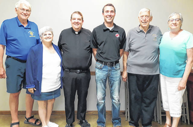 The Greenville Knights of Columbus and Darke County Shriners gathered recently for their annual 'Friendship Dinner' on June 17. Pictured (left to right) are: Luke Stachler, Grand Knight, Greenville Knights of Columbus; Connie Stachler; Fr. Matt Feist, St. Mary's Parish, Greenville; Eldon Wolter, President, Darke County Shrine Club; and Mary Alice Wolter.