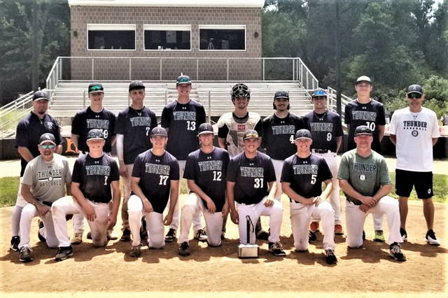 Greenville American Legion Post 140 earns third place Tiffin College Classic tournament trophy.