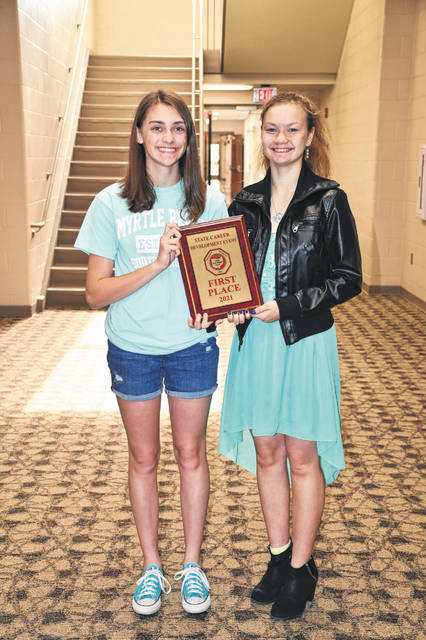 Arcanum students Meredith Laux and Zoe DeHut placed first at state and qualified to present at the national FCCLA leadership conference this summer.