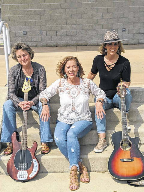 """Down-home musical trio, """"Shot of Whiskey,"""" will perform at Union City's Harter Park on Saturday, July 3. Pictured are band members Jana Kolling (bass/keys/vocals), Amanda Livingston (acoustic guitar/vocals) and Kelly Holmes (vocals)."""