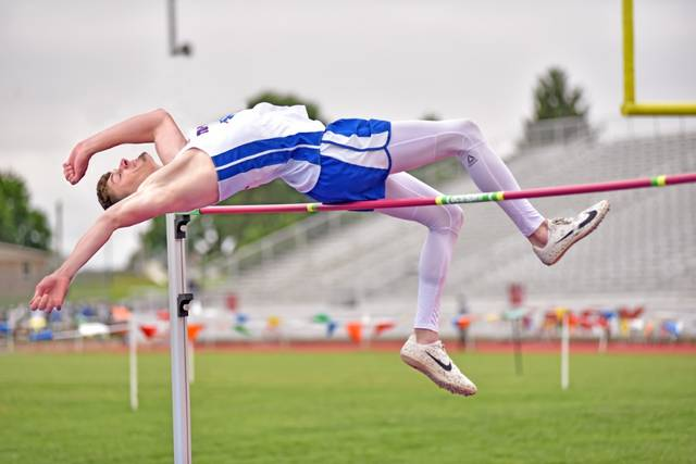 """Tri-Village Patriots Layne Sarver wins OHSAA state boys high jump championship with a jump of 6'5""""."""
