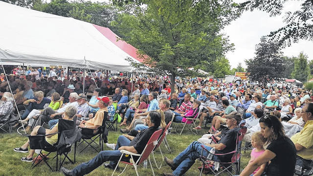 The crowd enjoys the entertainment at the Gathering at Garst.
