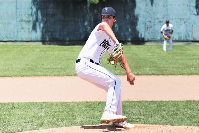 Alex Kolb pitches for Greenville American Legion Post 140 in the team's WOL Regional Tournament win over Piqua.