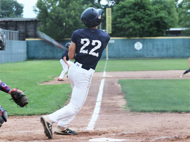 Aiden Psczulkoski takes a turn at the plate in Greenville Post 140's win over Piqua.