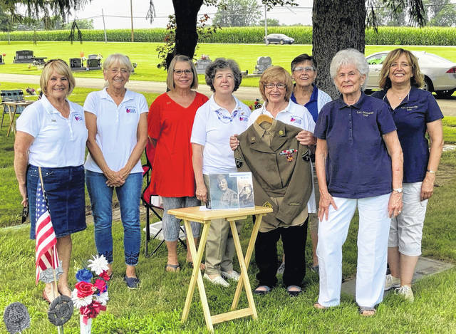Fort GreeneVille DAR hosted the first of two Veterans Walking Tours at Greenville Union Cemetery. Pictured (left to right) are members Kathy Bowen, Cindy Austen, Virginia Kagey, Linda Riley, Shirley Hughes, Mary Jane Dietrich, Helen Wright, and Debbie Nisonger. The next tour will be on Thurs., July 22, at 7 p.m.