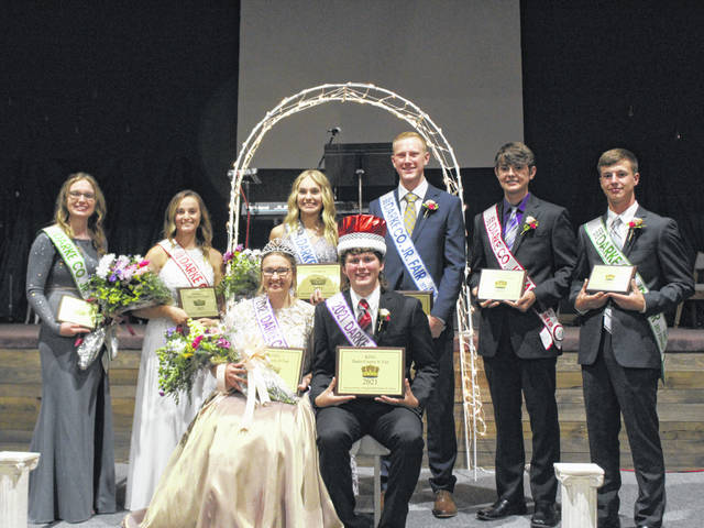 The 2021 Darke County Jr. Fair royalty was selected Tuesday evening. Shown are Queen: Laura Wuebker, King: Dalton Hesson, 1st Runner-up King: Gavin Lochard, 1st Runner-up Queen: Kylee Winner, 2nd Runner-up King:Justin Heitkamp, 2nd Runner-up Queen: Emily Scholl, 3rd Runner-up King: Luke Brinksneader, 3rd Runner-up Queen: Carrie Rhoades.