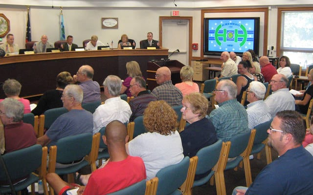 Council chambers were full as the Huber Heights City Council debated allowing a zoning change for a medical marijuana processing business. Council voted 6-2 to defeat the zoning change and also passed a 180 day moratorium against new applications.