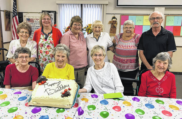 The Vandalia Senior Center recently celebrated September birthdays. Seated, left to right, is Stella Williams, Polly Buegler, Jeri Klawonn, Rita Abele; standing, left to right, Dolly Tidd, Cheryl Beimly, Mary Geiger, Phyllis Via, Linda Yeatman, and Charlie Pace. Thanks to Friendship Village for providing the cake.