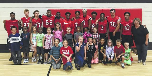 Mr. and Miss Wayne Tylyer Wynkoop and Kloe Muntz led the first elementary pep rally of the year at Charles Huber Elementary School on August 28. Members of the Wayne Warrior football team, cheerleaders, and others were on hand to build Warrior Spirit!