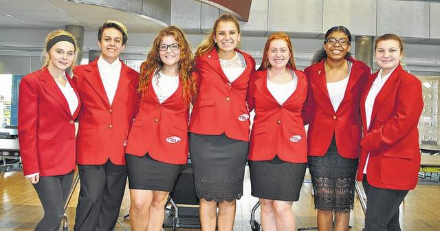 Pictured left to right are 2017-2018 FCCLA Officers - Haylee Grilliot (Hospitality Rep), Gerardo Zamora (Vice President), Deja Mangos (Historian), Olivia Mett (President), Ryleigh Abney (Early Childhood Education Rep), Kyra McClure (Filling in for Ashley Brown, Secretary), and Briana Miles (Hospitality Rep).