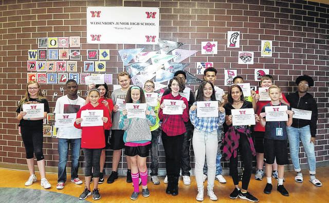 Congratulations to Weisenborn Junior High students of the month for September - Nathan Gilliam, Mallie Majors Smith, Noah Easterling, Leah Livesay, Jordan Stinson, Josephine Henry, James Snyder, Evelyn Wentworth, Elijah Lee, Shannah Flores Betancourt, Jamie Abrams, Chanya Spratt, Castello Favors, Lily Mitchell, Coltin Hall, Maur'Amie Whitfield, Malaki Stockman, and Elijah Turner. These students were chosen by their teams of teachers for their hard work; being respectful; responsible; and having a positive attitude. They were treated to a special pizza lunch with Weisenborn's principal, Mr. Carey.