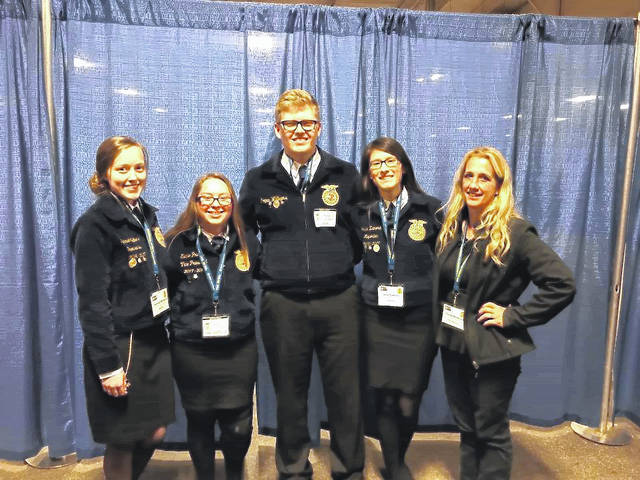 Contributed photo <strong>MVCTC FFA Vet Science Team of Josie Zamora (Alumni Wayne High School 2017), Hannah Walters (Alumni Vandalia High School 2017), and current seniors Logan Williams (Brookville High School) and Elainie Prater (Northmont High School) competed in the National FFA Vet Science CDE and earned a silver emblem.</strong>