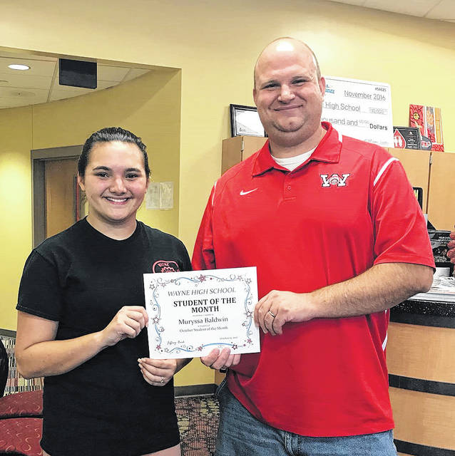 Congratulations to Muryssa Baldwin, Wayne High School's Student of the Month for October. She is pictured with Wayne Principal Jeffrey Berk.