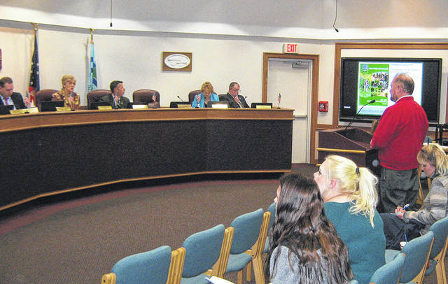 Eric Sauer of Five Rivers Metro Parks presents plans for the future of Carriage Hill Park to Huber Heights City Council during their meeting on Monday, Nov. 13.