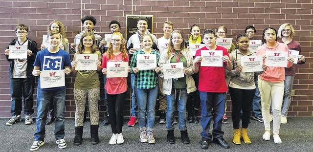 Congratulations to the Weisenborn Junior High School November Students of the Month: William Reeder, Megan Rybitski, Lawrent Rice, Ashlynn Mandich, Gavin Howard, Aislynn Hull, Jason Garcia, Caitlyn O'Dell, Marvin Hunter, Darla Castillo, James Cammon, Brooklyn Coon, Nicholas Baldwin, Madeline Fernandez, Joshua Popp, Elizabeth Dixon, Imran Khan, and Tar'Mary Jones. These students were selected by their teams of teachers for their hard work; being respectful; responsible; and having a positive attitude. They were treated to a special Pizza with the Principals luncheon with Mr. Carey and Mr. McCollum.