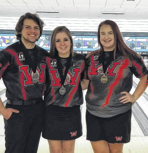 <strong>Left to right: Noah Kunkel made 2<sup>nd</sup> Team National Division while Audrie Goffinet made 2<sup>nd</sup> Team National Division and Ryleigh Crouse made the 1<sup>st</sup> Team National Division All-Tournament Team at the Greater Western Ohio Conference bowling tournament.</strong>