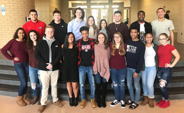 Pictured are members of the court for the Wayne Snowball Dance Court: Mackenzie Sharp escorted by Ryan Boman; Sidney Bailey escorted by Amiri Clay; Courtney Phares escorted by Rickey Harris; juniors Olivia Wittman escorted by Logan Brock; Mariyah Waitukaitus escorted by Matteo Rivas; sophomores Amiya Drew escorted by Jacob Padilla; Kailey Wilde escorted by Matthew Sexton; and freshmen Kyli Gainer escorted by Cameron Fancher andJordan Byrd escorted by Bryce Walker. The dance will be held Saturday, Feb. 17 at Wayne High School.