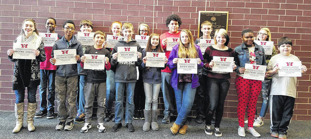 """Congratulations to the Weisenborn February Students of the Month: Ofure Ituma, Brooke Adkins, Kadence Fitzpatrick, Joseph Praete, Tra'Vonte Starks, Zackery Clemens, Haley Collier, Wyatt Bier, Macy Grigsby, Julian Baker, Tru Gerndt, Nathan Stauffer, Raven Smith, Sha'Mary Jones, Zachariah Hopkins, and Madelyn Henline. These students were selected by their teams of teachers for their hard work, being respectful, responsible, and having a positive attitude. The students were treated to a special """"Pizza with the Principals"""" luncheon with Mr. Carey and Mr. McCollum."""