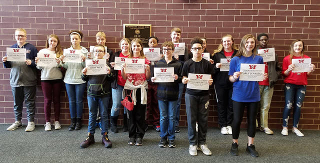 "Congratulations to the Weisenborn Junior High School Students of the Month for March - Hunter Boyer, Isabelle Gruen, Jerry Peck, Kylie Setser, Peyton Ferguson, Kylee Wilson, Michael Bailey, Katelyn Reilly, Seth Hutsonpillar, Mia Allen, William Nelson, Carly Jennings, Chace Fisher, Alexis Larson, Aiden Cooper, Raelee Lance, and Dylan Hitchcock. These students were selected by their teams of teachers for their hard work, being respectful, responsible, and having a positive attitude. The students will be treated to a special ""Pizza with the Principals"" luncheon with Mr. Carey and Mr. McCollum on April 3."