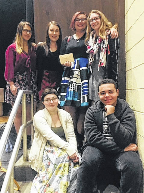 The Wayne High School Thespian Troupe 112 officers accepted a donation from Engage City Church on Sunday, March 3, 2018. Pictured top row, left to right, Avery Lewis-Treasurer, Lauren Fisher-Secretary, Morgan Colton-President,Katie Leeds-Historian; bottom row. left to right, Emmy Goerling-Scribe, Dominic Frazee-Crawford- Promotions. Not Pictured is Alyssa Hardin-Vice President.