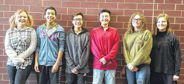 Pictured are Weisenborn Junior High recipients of the Montgomery County College Promise Scholarship: Madison Murray, Dillon Andrews, Brandon Vu, Miguel Abeldano, Lily Carlisle, and Jade Burton. Not pictured is Gibson Nguyen.
