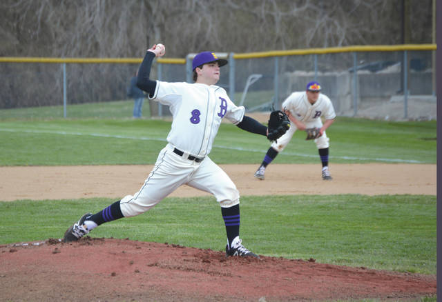 After being touched up for four runs and five hits in the first, Bellbrook starter Andrew Peters limited Wayne to one hit over the next four innings in an April 10 non-league high school baseball game at Bellbrook High.