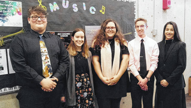 Five Wayne High School students were accepted to participate in the Sinclair Youth Wind Symphony. On Sunday, April 26, they performed with students from 26 other schools under the baton of composer Robert Sheldon and had a fantastic performance. Pictured left to right are Ethan DePriest, Kadie Omlor, Clara Dew, Cody McMeans, and Jayla Holzinger.