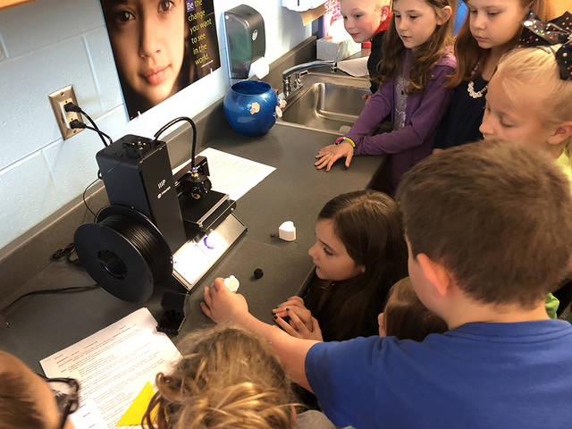 Students at Valley Forge Elementary School are using 3D printers purchased with grant money as part of their engineering design process and other STEM related projects.