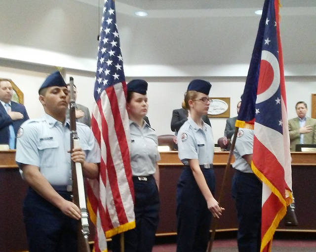 Members of the Wayne High School Junior ROTC Honor Guard presented the colors prior to Monday's Huber Heights City Council meeting. Pictured are Karam Abuhelal, Ciana Sizemore, Mia Bailey, and Dallas Allen.