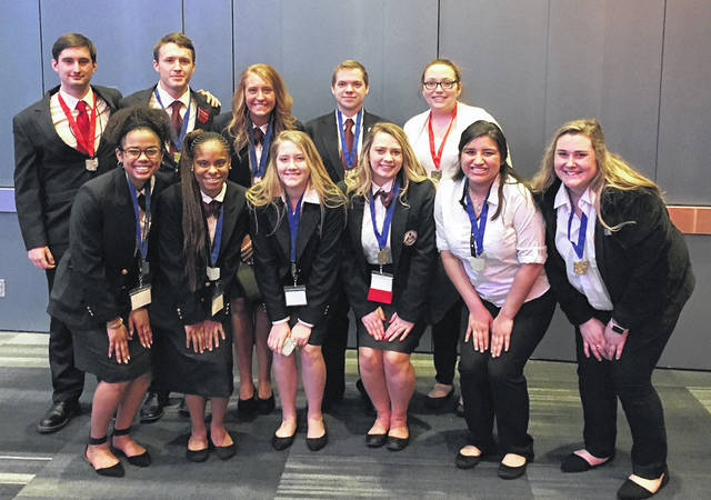 Pictured are MVCTC Students who placed at HOSA State Competition and qualified for the National Competition in Dallas, TX. Back row, left to right, Connor Howe (Allied Health/New Lebanon), Peyton Phillips (Biotechnology/Northwestern), Laura Woodworth (Health Careers/Tri-County North), Shawn Ertel (Biotechnology/Tipp City), and Shelbie Brown (Health Careers/Preble Shawnee); front row, left to right, Keara Tellis (Biotechnology/Wayne), Jaelyn Watson (Biotechnology/Trotwood), Elizabeth Crosby (Health Careers/Brookville), Alexis Reeder (Health Careers/Tri-County North), Deina Delgado (Allied Health/Tipp City), and Mariah Brewer (Allied Health/Eaton).