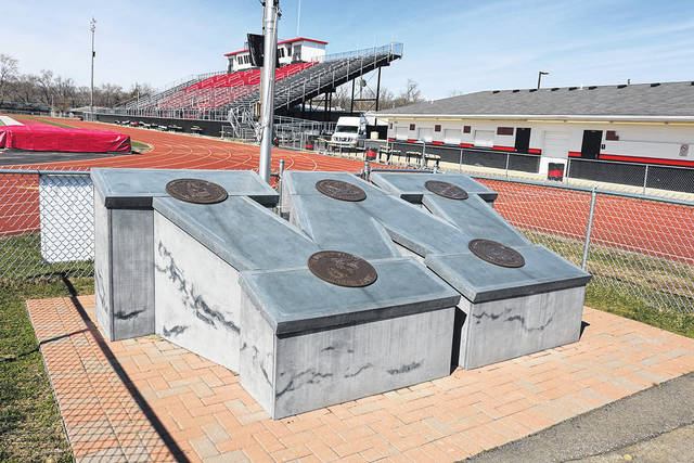 Wayne High School, which features this military memorial outside its football stadium, was one of five Huber Heights City School buildings to receive Purple Star designation from the Ohio Department of Education.