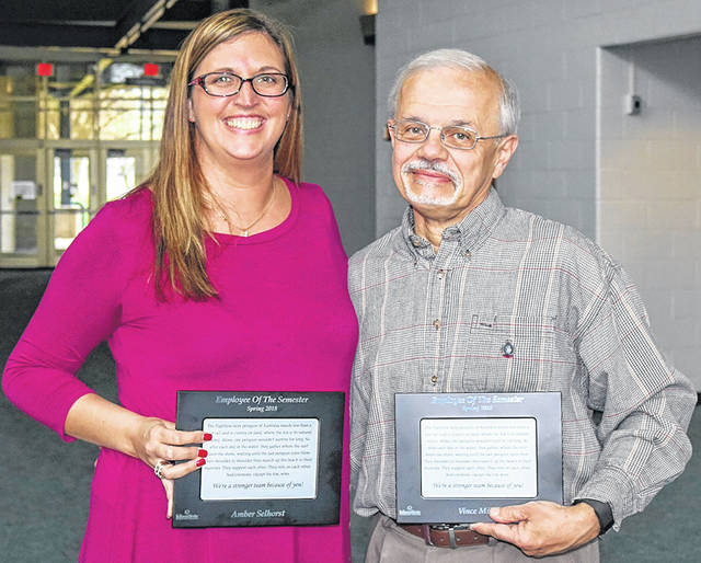 <strong>Amber Selhorst and Vince Miller are named 2018 Spring Employees of the Semester at Edison State Community College.</strong>