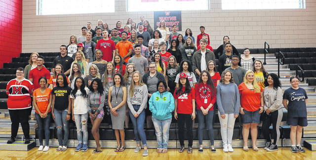 Dozens of Wayne High School seniors participated in Wayne's College Signing Day event last week. Students were encouraged to wear an article of clothing from the college they will be attending in the fall. Congratulations and good luck to all Warriors who are furthering their academic careers.