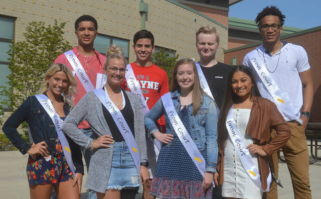 "Wayne High School has announced the 2018 Prom Court. Pictured are back row, left to right, Deshon Parker, Cameron Picard, Ryan Boman, L'Christian Smith-Cochran; front row, left to right, Sabryna Creech, Jessica Smart, Mikaela Henline, and Cierra Fancher. Wayne's prom will be held Saturday, May 5 with a theme of ""An Evening Around the World."""